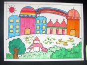 孩子通过画画表现出自己的想法和创意